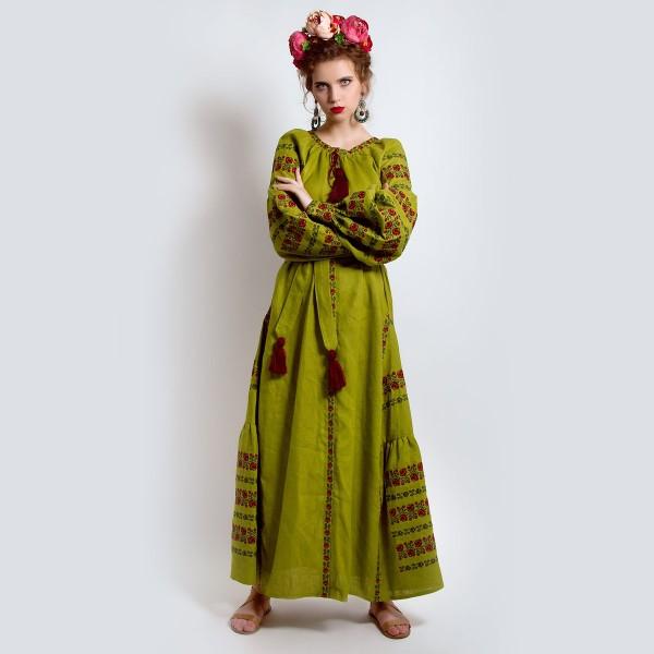 Сукня вишиванка «Оливковий присмак»